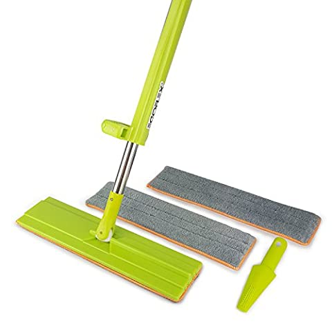 EGOFLEX Microfiber Floor Mop Self Wringing System - Hands-Free Wash Wet and Dry Dust Lazy Mop for All Surface and Hardwood Floor [3 Washable Premium Pads and 1 Cleaning - Microfiber Hardwood Floor Mop