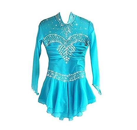 Figure Skating Dress Women's Girls' Ice Skating Dress Long Sleeves Performance Skating Wear High Elasticity Spandex Chinlon Skirt Dress SISHUINIANHUA