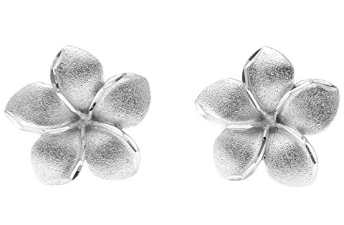 (14K solid white gold Hawaiian 20mm plumeria tropical flower post stud earrings)