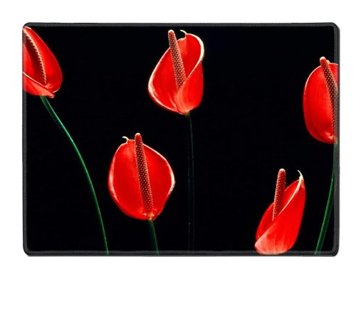 Calla Lilies Flowers Stems Red Black Placemat Pads Customized Made To Order Support Ready 15 6/8 Inch (400mm) X 11 13/16 Inch (300mm) X 1/8 Inch (3mm) High Quality Eco Friendly Cloth With Neoprene Rubber Liil Place Mouse Pad Desktop Mousepad Laptop Mousepads Comfortable Table Desk Kitchen Computer Mouse Mat Cute Gaming Mouse_Pad