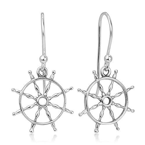 925 Sterling Silver Open Navy Sailor Ship Wheel Symbol Dangle Hook Earrings 1.1
