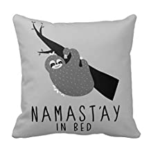 Namastay In Bed Sloth Throw Pillow Case