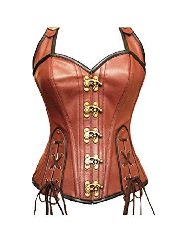 男落ち着かないBrown REAL Leather Lace Goth Steampunk Bustier Overbust Corset Halloween Costume