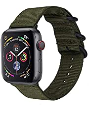 METEQI Bands Woven Nylon Sport Loop Wrist Strap for 44mm 42mm 40mm 38mm Compatible with iwatch Series 5/4/3/2/1 (38mm/40mm, Army Green)