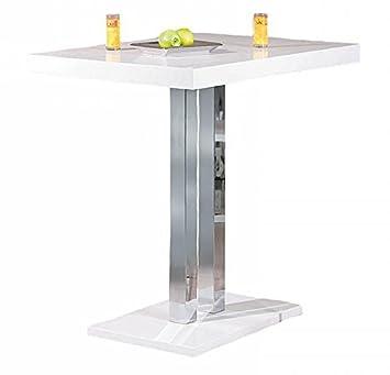 Bartisch Hochglanz weiß Metallgestell Höhe 110 cm Tisch Bar Tresen ...