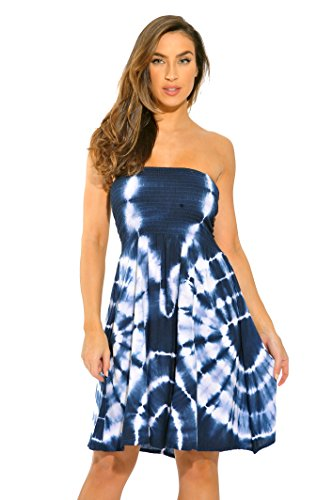 Riviera Sun 21612-NW-3X Strapless Tube Short Dress/Summer Dresses Navy/White ()