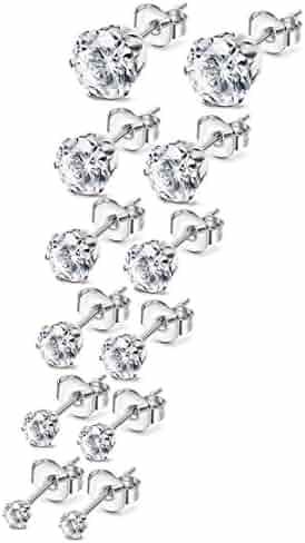 Besteel Women's Stainless Steel Round Clear Cubic Zirconia Stud Earrings Set for Women 3-8mm 6 Pairs