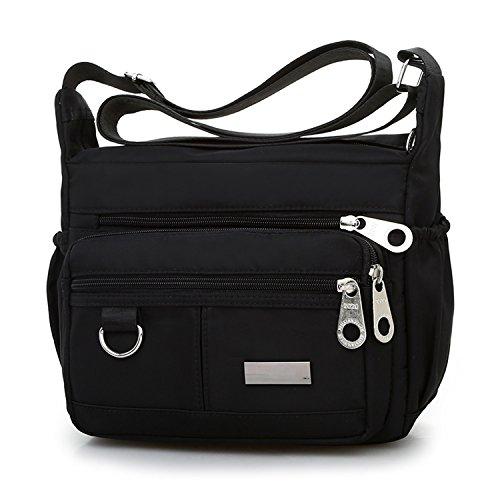 Waterproof Oxford Spinning Shoulder Crossbody Bags Travel- Handbag Zipper Multi Pocket Everywhere Lightweight
