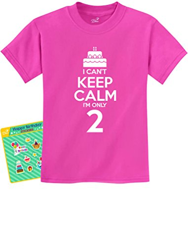 2nd Birthday Gift Can't Keep Calm I'm Two Birthday Cake 2 Year Old Kids T-Shirt Small Pink