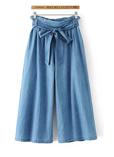 Gihuo Women's Elastic Waist Denim Capris Wide Leg Cropped Belted Culottes Pants (0-2, Light - Wide Belted Jeans