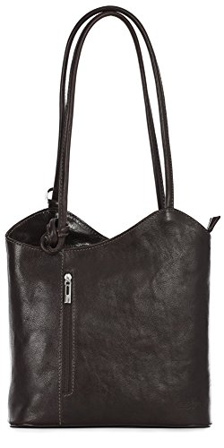 LIATALIA Womens SOFT Italian Leather Structured Shoulder Backpack Rucksack Duffle Bag - LIBBY Coffee (Soft Leather)