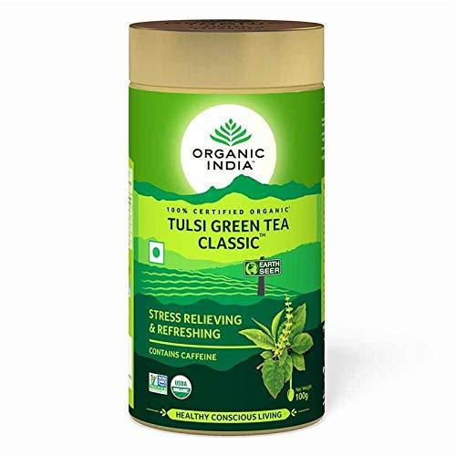 (Organic India Tulsi Green - 100g Tin (Set of 3))