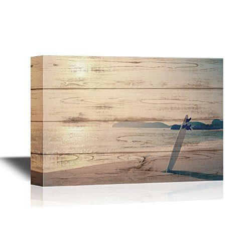 - wall26 - Water Entertainment Canvas Wall Art - Old Photo of Surfboard on The Wild Beach of Hawaii - Gallery Wrap Modern Home Decor | Ready to Hang - 16x24 inches