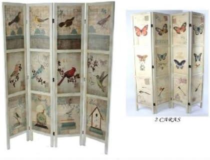 Biombo madera blanca mariposas/pájaros 140x180 cm.: Amazon.es: Hogar