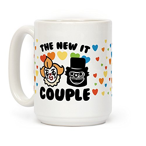 The New It Couple Parody White 15 Ounce Ceramic Coffee Mug by (Horror Movie Halloween Memes)