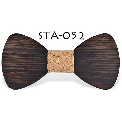 Bow Ties Men and Women Wedding Wood Bow Tie DIY Design Fashion Wedding Party Wooden Tide Bow Tie (Color : 52, Size : Free Size)