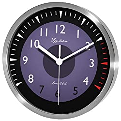 Fzy.bstim Silent Wall Clock Decorative,Analog Stainless Steel Wall Clock Battery Operated
