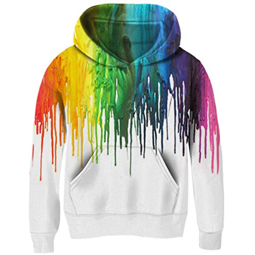 (Funnycokid Funny Youth Hoodies Long Sleeve 3D Print Rainbow Sweatshirts Fleece Hooded Pullover Jumpers)