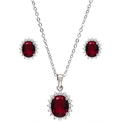 - Lavencious Round Pronged Setting Ruby Jewelry Set Necklace & Earrings Trendy AAA Cubic Zirconia for Women Wedding Party Prom (Red)