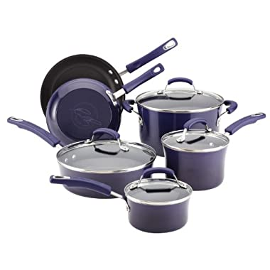 Rachael Ray Porcelain Enamel II Nonstick 10-Piece Cookware Set, Purple Gradient