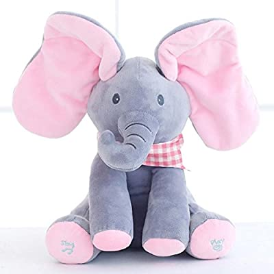 Peek A Boo Elephant Plush Toy Cute Soft Baby Cartoon Singing Music Stuffed Anima Kids Electronic Doll