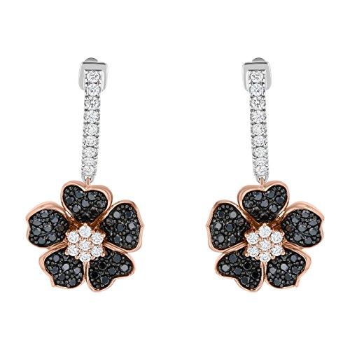 Olivia Paris 14k Two-Tone Gold Black and White Diamond Flower Huggie Hoop Earrings (1 ctw, H-I, I1)