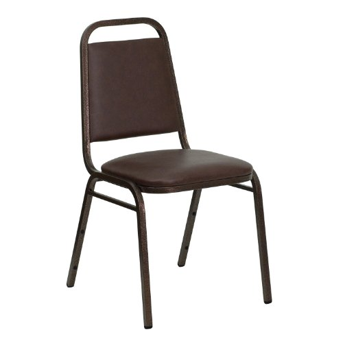 Chair Economy Stack - MFO Trapezoidal Back Stacking Banquet Chair with Brown Vinyl and 1.5'' Thick Seat - Copper Vein Frame