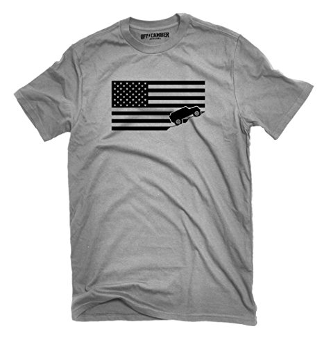 American Flag Jeep Shirt Ash Gray Made In Usa Offroad T Shirt  Large