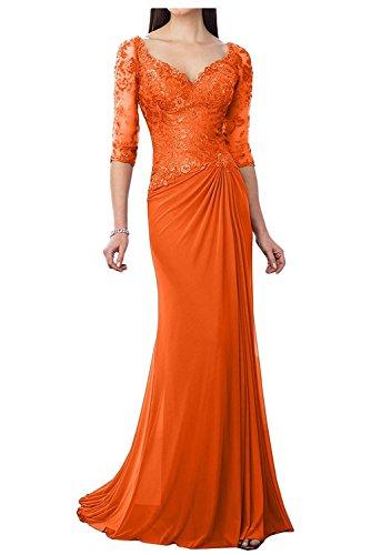 Damen Spitze Partykleider Charmant Dunkel Etuikleider Lang Festlichkleider Langarm Abendkleider Orange Brautmutterkleider TqxZCg