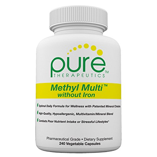 Methyl Multi without Iron - 240 Vegetable Capsules | Features Activated Vitamin Cofactors and Folate as Quatrefolic® (5-MTHF) | Patented Albion TRAACS Chelated Mineral Complexes - No Iron Multi Mineral Complex