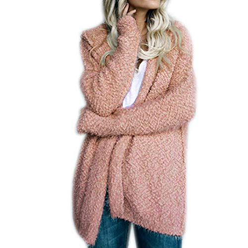 iYBUIA Fall Ladies Solid Long Sleeve Cardigan Loose Sweater Hoodies Coat Casual Jumper(Pink,M) (Sweater Striped Collegiate)