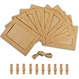 Paper Photo Frame 4x6 Kraft Paper Picture Frames 10 PCS DIY Cardboard Photo Frames with Wood Clips and Jute Twine