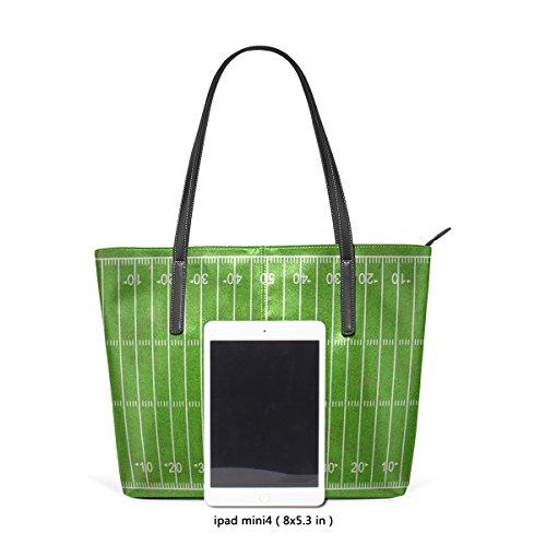 COOSUN Grungy American Football Feld PU Leder Schultertasche Handtasche und Handtaschen Tasche für Frauen