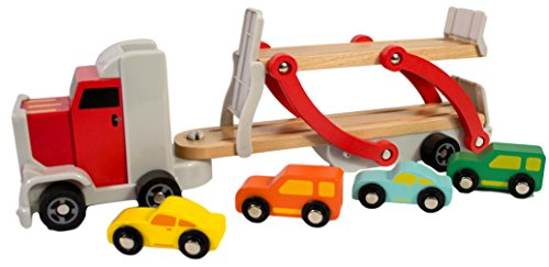 Wooden Car Semi Truck Toy Includes 4 Cars, Semi Truck Toy, Toy Semi Truck And Trailer, Tow Truck Toy