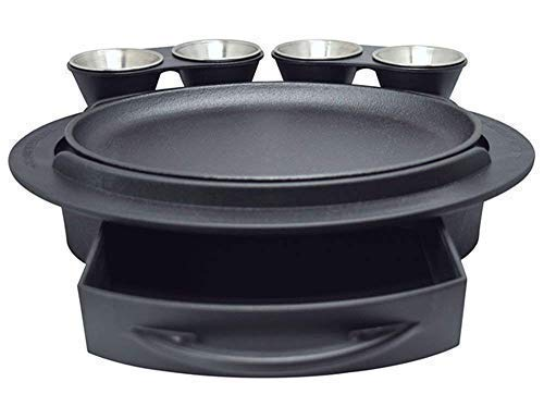 The Fajita Butler Serving Set, with Cast Iron Skillet and Removable Handle, Heat-Resistant Base, Dual Sliding Tortilla Tray, 2 Condiment Holders with 4 Stainless Steel Ramekins, by Butler Concepts