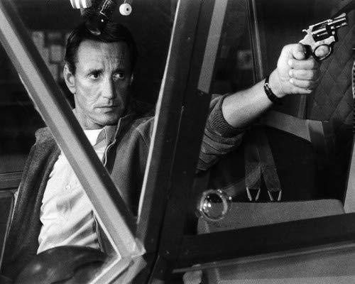 (Blue Thunder Roy Scheider points gun out of helicopter window 11x14 Aluminum Wall Art)