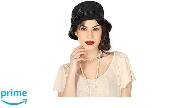 FIESTAS GUIRCA Sombrero de Fieltro Negro 20-30 años con Lazo para Disfraz  de Charleston  Amazon.es  Juguetes y juegos eda736f2c1e