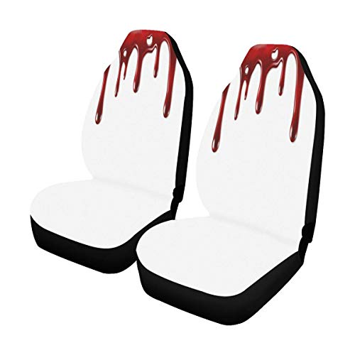 (INTERESTPRINT Bloody Hand Print Horror Halloween Car Seat Covers Set Vehicle Seat Protector Mat for Auto Cars SUV Van,)