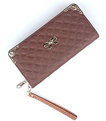 Brown PU Leather For Women - Zip Around Wallets