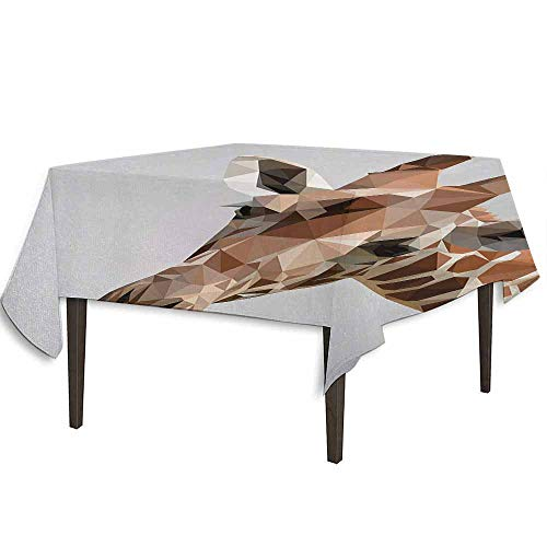 Animal Leakproof Polyester Tablecloth African Safari Wildlife Creature Digital Giraffe Modern Triangles Image Artwork Dinner Picnic Home Decor W36.2 x L36.4 Inch Brown ANG Grey