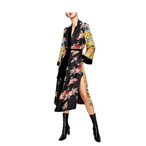 Kimono Pullover (Sikye Women's Loose Tops Boho Kimono Cardigan Polyster Floral Print Cardigan Long Style (S))