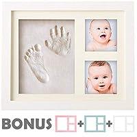 Kit de huella para bebé | NO HAY MOLDE | Marco de fotos para bebés, kit de huella para bebés, perfecto para regalos de Baby Boy, regalos de Baby Girl principales, regalos para baby shower, marcos de recuerdos de bebés recién nacidos