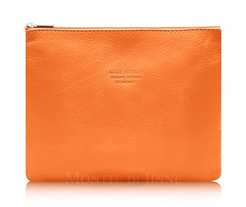 Montte Di Jinne - | 100% Real Italian Leather| Soft | Makeup Bag | Gift for Women (RED) ORANGE