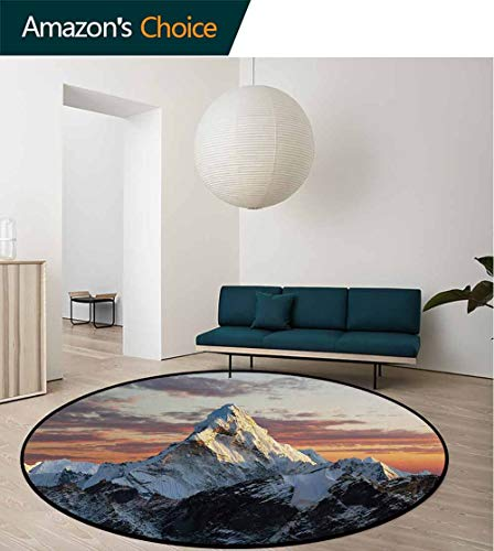 Mountain Round Area Rug Ultra Comfy Thick,Evening South Asian High Mountain Above The Sky with Colorful Lights Nepal Everest for Home Decor Bedroom Kitchen Etc Round-24 Inch,Multicolor