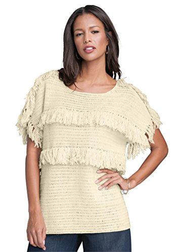 Womens-Plus-Size-Crochet-Fringe-Sweater