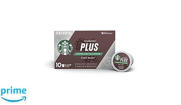 dc053da6954 Amazon.com: Starbucks Plus Coffee 2X Caffeine Dark Roast Single Cup Coffee  for Keurig Brewers: Prime Pantry
