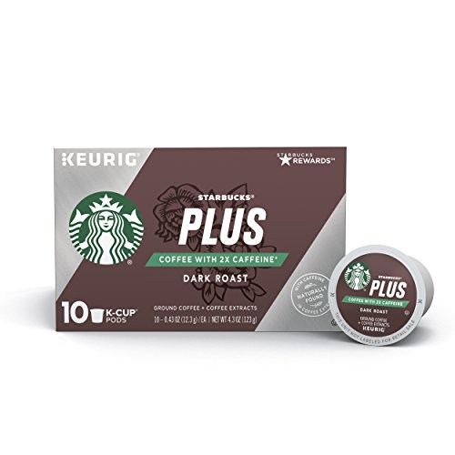 Starbucks Plus Coffee 2X Caffeine Dark Roast Single Cup Coffee for Keurig Brewers, 6 Boxes of 10 (60 Total K-Cup Pods)