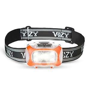 247 Viz LED Headlamp Motion Sensor - See The Road & Stay Safe - 2 Bright White & 2 Red Lights - Running, Hiking, Camping, Dog Walking Night Safety Kids - Lightweight Head Lamp Comfort