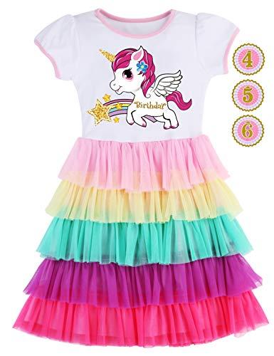PrinceSasa Elegant Girl Dress Unicorn Rainbow Party White Cupcake Short Sleeve Autumn Dress for Princess Toddler Birthday Outfits Clothes,5T19B,4-5 Years(Size ()
