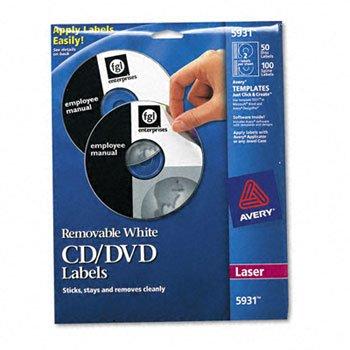(Avery® CD/DVD Labels LABEL,CD/DVD,50PK,WHT 5012 (Pack of3))
